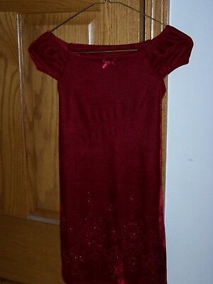 Girls Red Holdiay Christmas Dress with Heart Decorations on the Bottom Size 6x](Girls Red Christmas Dresses)