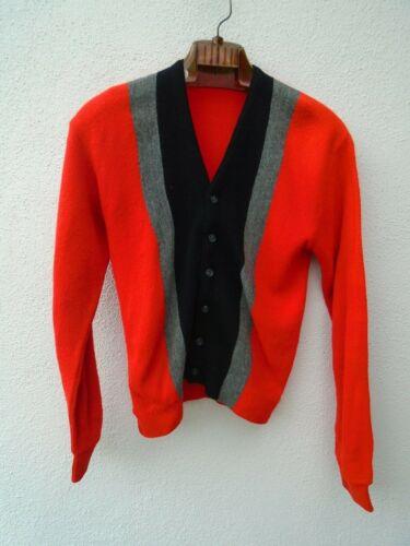 Vintage 1960s Red Orange Black Gray Vertical Stripe Sweater Cardigan