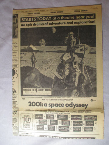 """Original 1969 Chicago American Newspaper AD for 2001: A SPACE ODYSSEY 10x14"""""""
