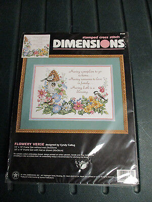 "Dimensions Stamped Cross Stitch Kit Flower Verse NIP 14"" x 10"" 1996"