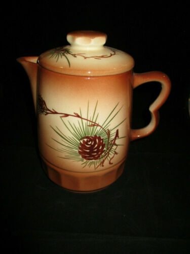 Vintage Loveland Art Pottery, Tan and Brown with Pine Cones Coffee Pot