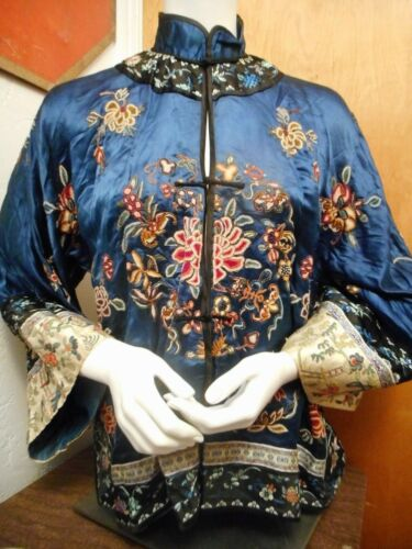 FINEST Antique Hand EMBROIDERED SILK Chinese ROBE JACKET Blue Ground BATS & FISH