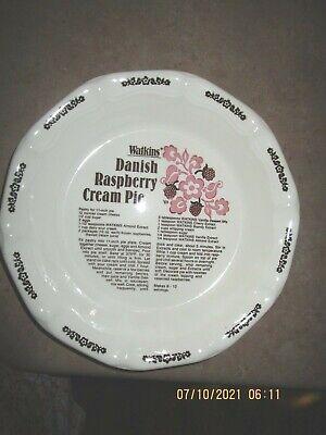"VINTAGE  1983 Watkins 11"" pie plate w/ recipe  Danish Raspberry cream  Pie"