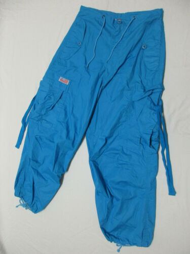 Vintage UFO Blue Rave Dance Cargo Pants with Straps Size XXS