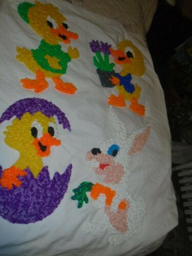 4 Easter Melted Plastic Popcorn Glitter Plaques-Ducks/Rabbit