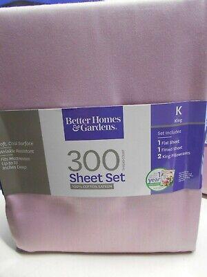 Better Homes & Gardens King Sheet Set 300 Count, Mauve Splash 100% Cotton