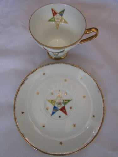 Vintage Nororest China OES Masonic Tea Cup & Saucer- Masonry- Eastern Star