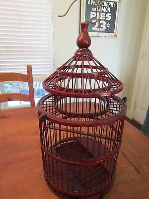 """Large decorative vintage look wooden hanging  Birdcage  23"""" tall"""