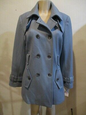 Women's Calvin Klein Blue Wool Blend Double Breasted Trench Coat Size XXL Calvin Klein Trench