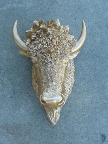 HUGE Gold Bison HEAD WALL MOUNT SCULPTURE STATUE DECORATION