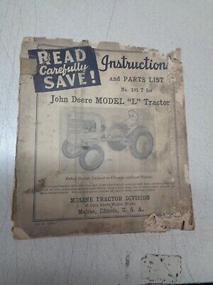 John Deere Model L Instructions Parts List Antique Tractor 101 T 1937 1946