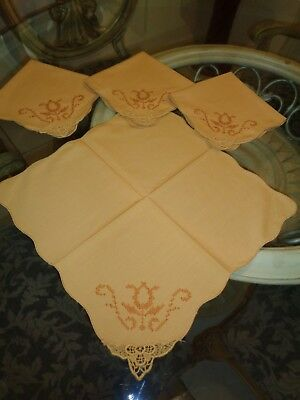 4 Cross Stitched Lace Corners Mustard Gold Dinner Napkins UNSUED 16