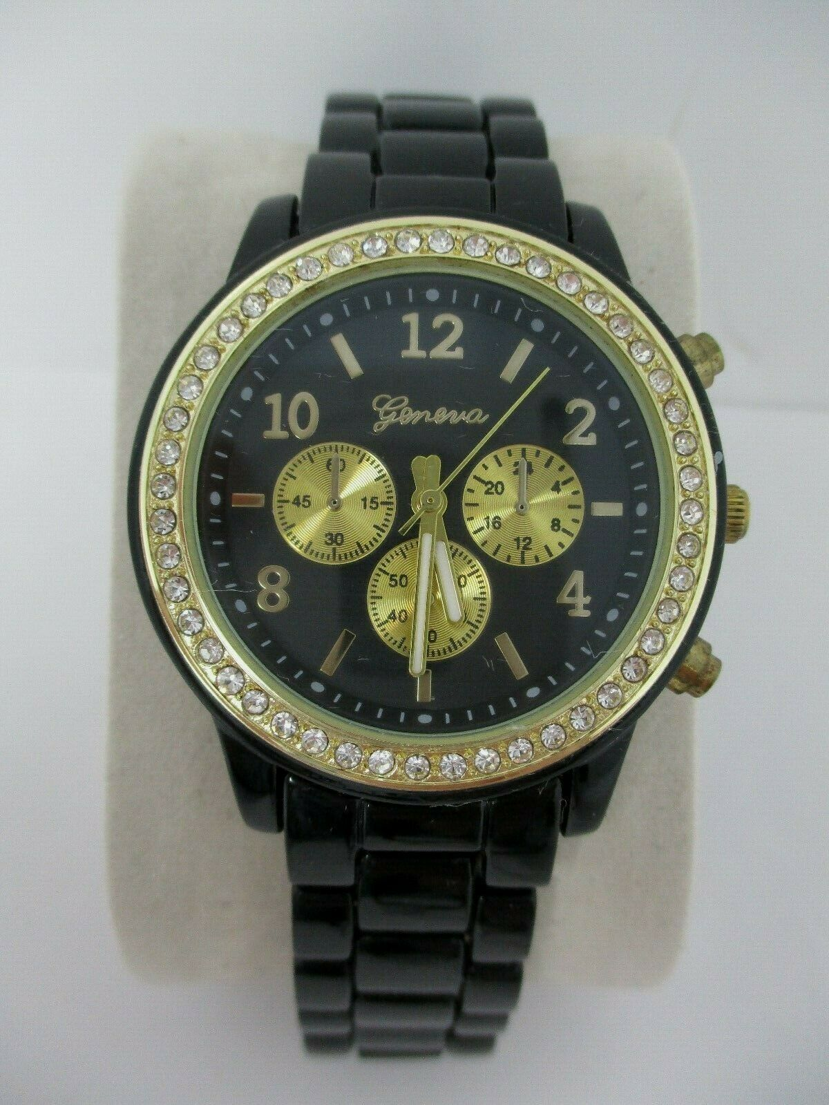Geneva Womens Black Gold Watch With Crystal Accents