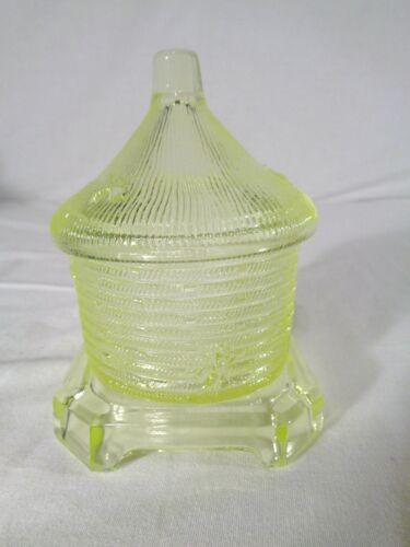 Boyd Beehive Honey Jar in Canary Vaseline Glass