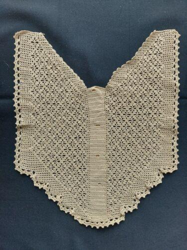Antique Beautiful Vintage Handmade Crochet Lace ornament Cotton Beige RARE