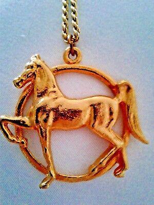 American Saddlebred Show Horse Round Gold Tone Pendant Necklace