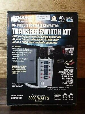 New Reliance 31410crk 10-circuit Portable Generator Power Transfer Switch Kit