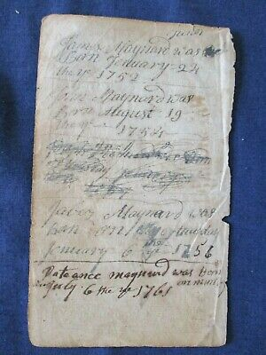 1752-61 Maynard Family Birth Records Hand Written on Bible Title Page