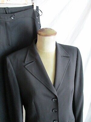 Escada black lightweight wool silk leather lacing fitted two piece pants suit 36