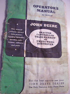 Vintage John Deere Operators Parts Manual -th 336 Harrow