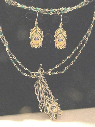 MMA SWAROVSKI CRYSTAL PEACOK FEATHER NECKLACE AND PIERCED EARRING SET