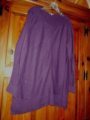 Vtg Eileen Fisher Plum Purple Organic Cotton Tunic Sweater Size L