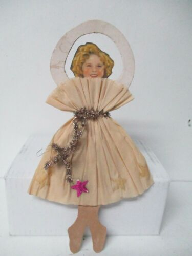 Vintage Diecut w Tinsel Christmas Ornament - Shirley Temple in Crepe Dress