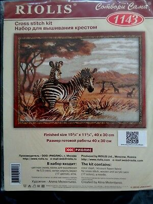 """Counted Cross Stitch Kit RIOLIS 1143 /""""Zebras in the Savannah/"""""""