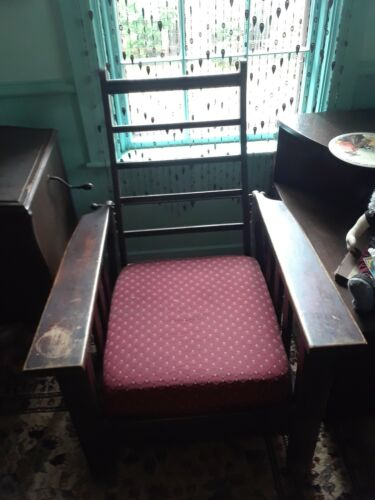 Antique Morris Style, Arts-Crafts Era, Solid Wood Deep Seat Reclining Arm Chair