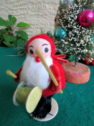 VINTAGE LRG SPUN COTTON ELF/GNOME HOLDING PAPER DRUM&STICKS CHRISTMAS ORNAMENT
