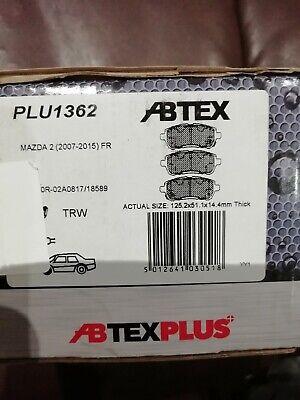 ABTEX PLUS PREMIUM DISC BRAKE PADS SET FRONT PLU1362 FOR MAZDA 2 (2007-2015)
