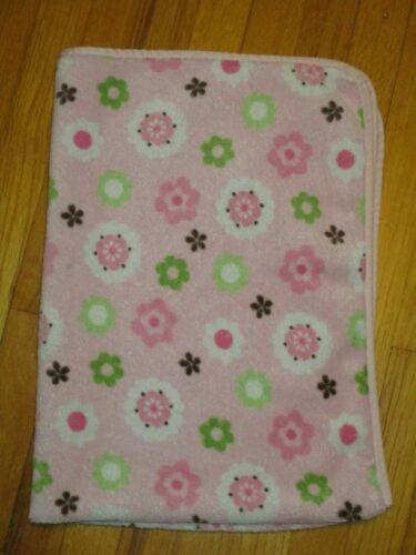 Circo/Target Pink Fleece Floral Green Brown Flowers Baby Blanket