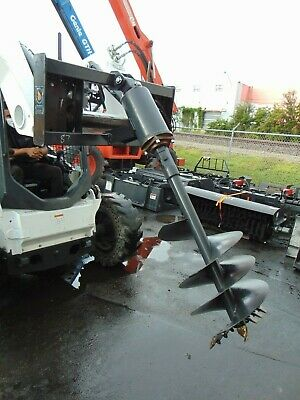 2020 Universal Skid Steer Auger Drill Attachment W 2 Bits Included