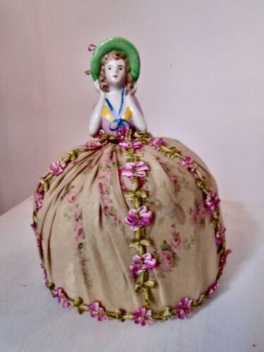 Charming Porcelain Half Doll Large Pin Cushion Or Ring Display
