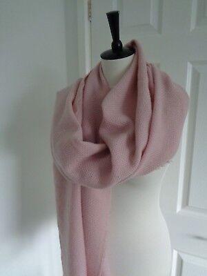 BNWT Gray & Willow Soft Pink 100% Wool Wide Scarf  Shawl Wrap
