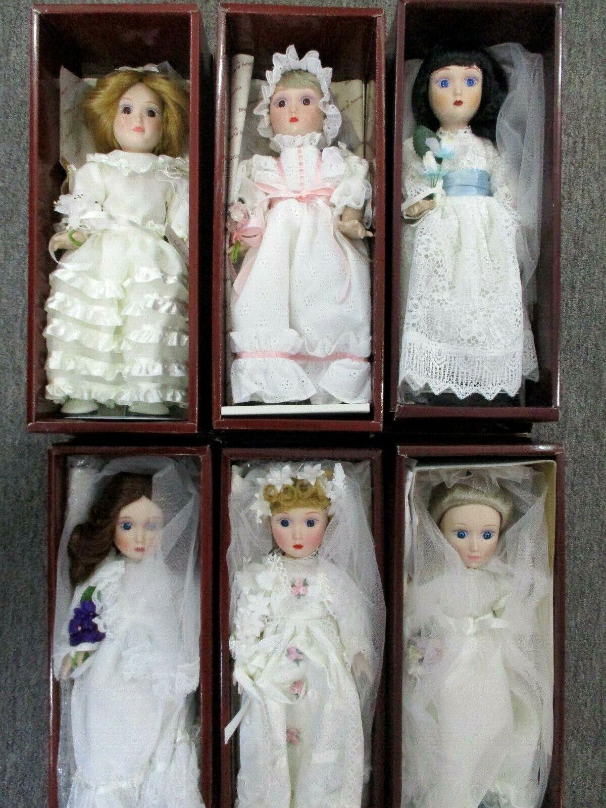 Danbury Mint Brides Of America Porcelain Dolls Lot of 6 In Original Boxes Lot-B