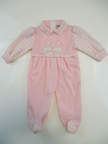 Vtg CARRIAGE BOUTIQUES FRIEDKNIT CREATIONS Ouftit Girl 3 mos Pink Knit One-piece