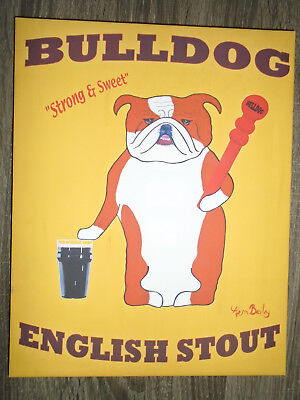 New Bulldog English Stout Strong & Sweet Beer Brewery Dog Painting Bar Pub Cave