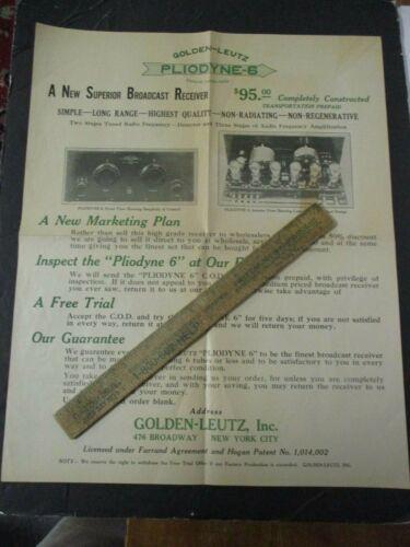 1920s GOLDEN-LEUTZ PLIODYNE 6 Radio Advertising Poster
