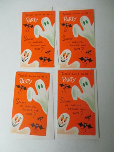 4 Vintage Halloween Party Invitations & Envelopes - Goblin Spook & Bats