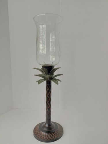 Hollywood Regency Style Palm Tree Heavy Metal Candle Stick w/etched Glass EUC