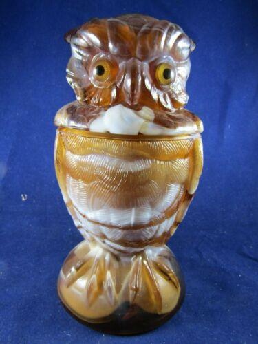 "Original Vintage Imperial Carmel / Amber Slag Art Glass Owl ~ 6 5/8"" H"