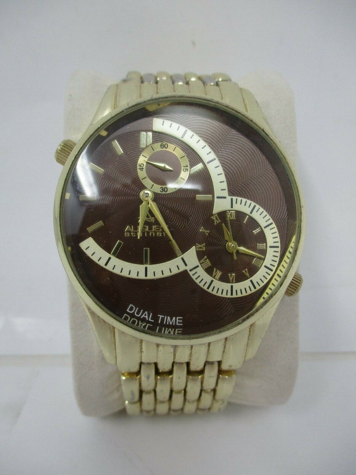 August Steiner Womens Watch AS814BR Gold Brown Dual Time