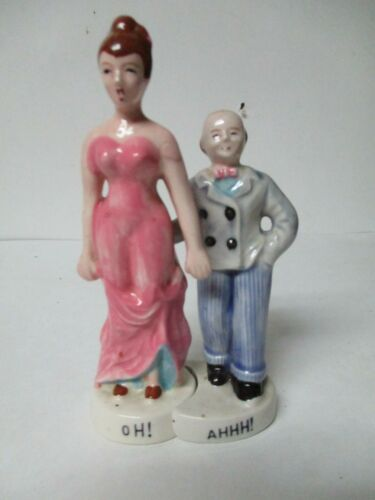 VINTAGE Ceramic SALT AND PEPPER SHAKERS -- RISQUE - OH! AHHH! COUPLE