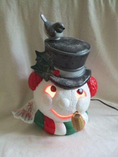 Ceramic Mold Snowman Head w/ Bird on Top Hat Pipe Frosty Christmas Light Lamp