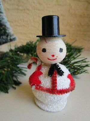 VINTAGE SNOWMAN SPUN COTTON HEAD&PUTZ & BLACK GLITTER & TOP HAT XMAS ORNAMENT
