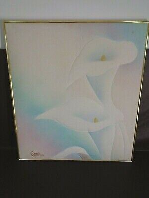 Large Framed Calla Lily Fabric Art Signed