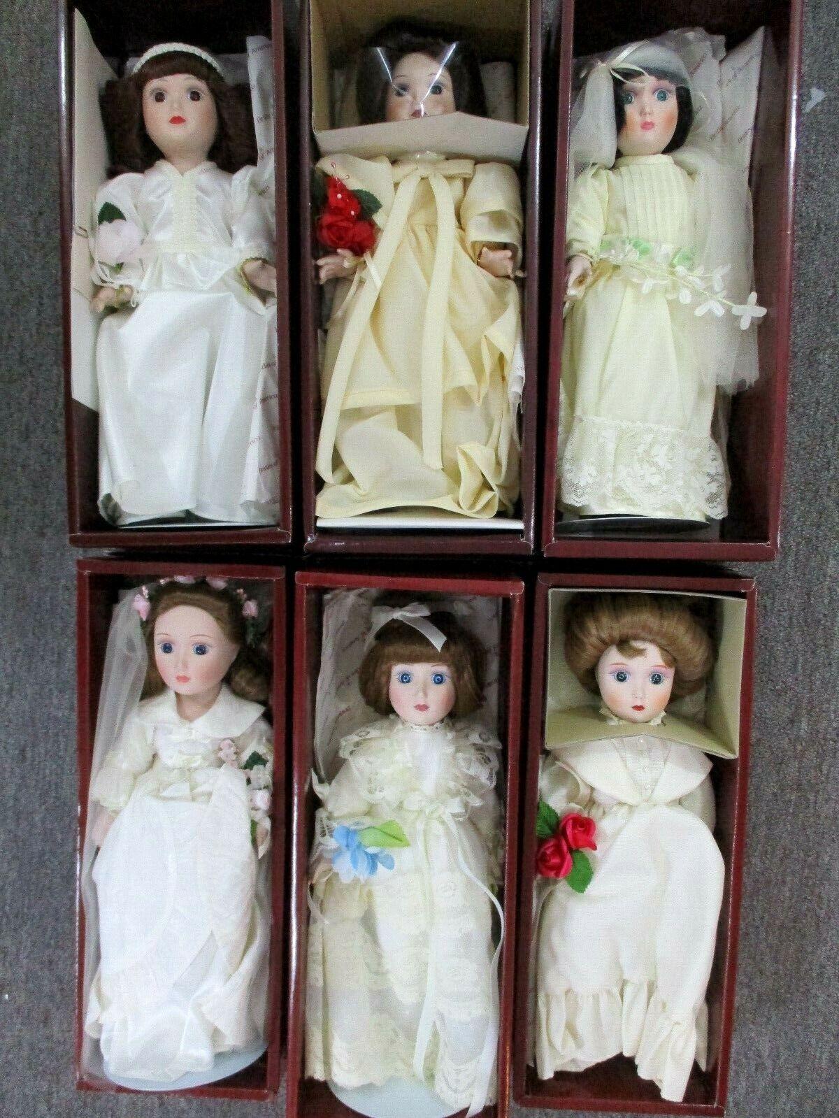 Danbury Mint Brides Of America Porcelain Dolls Lot of 6 In Original Boxes Lot-A