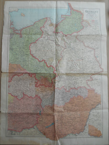 WW2 1940 British George Philip & Son Map of Eastern Germany and Hungary