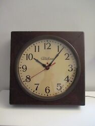 Vintage Large Telechron Red Dot Wood Case Industrial Wall Clock Parts or Repair